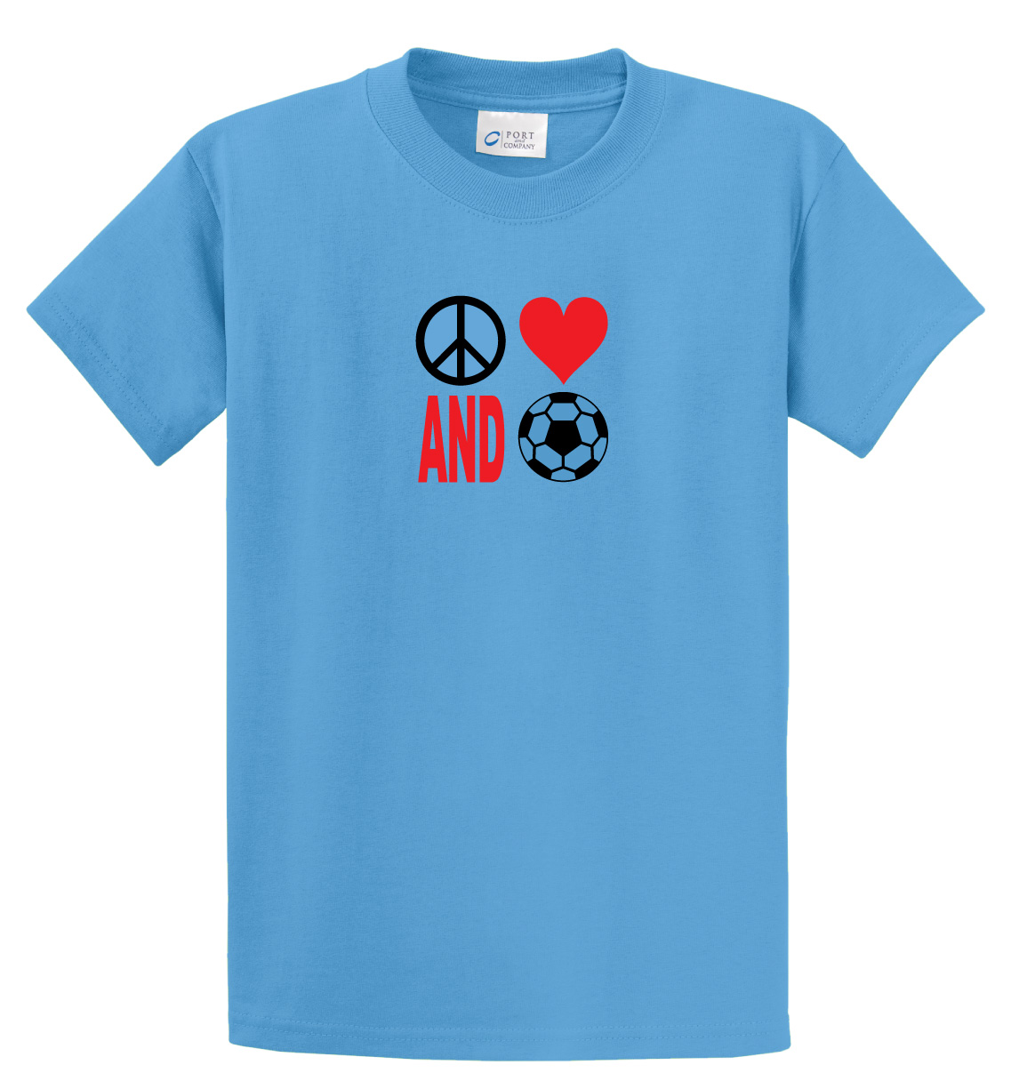 Peace Love and Soccer tee in aqua blue by Code Four Athletics