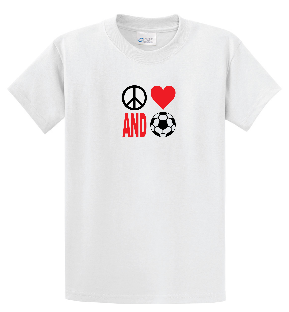 Peace Love and Soccer Tee in white by Code Four Athletics