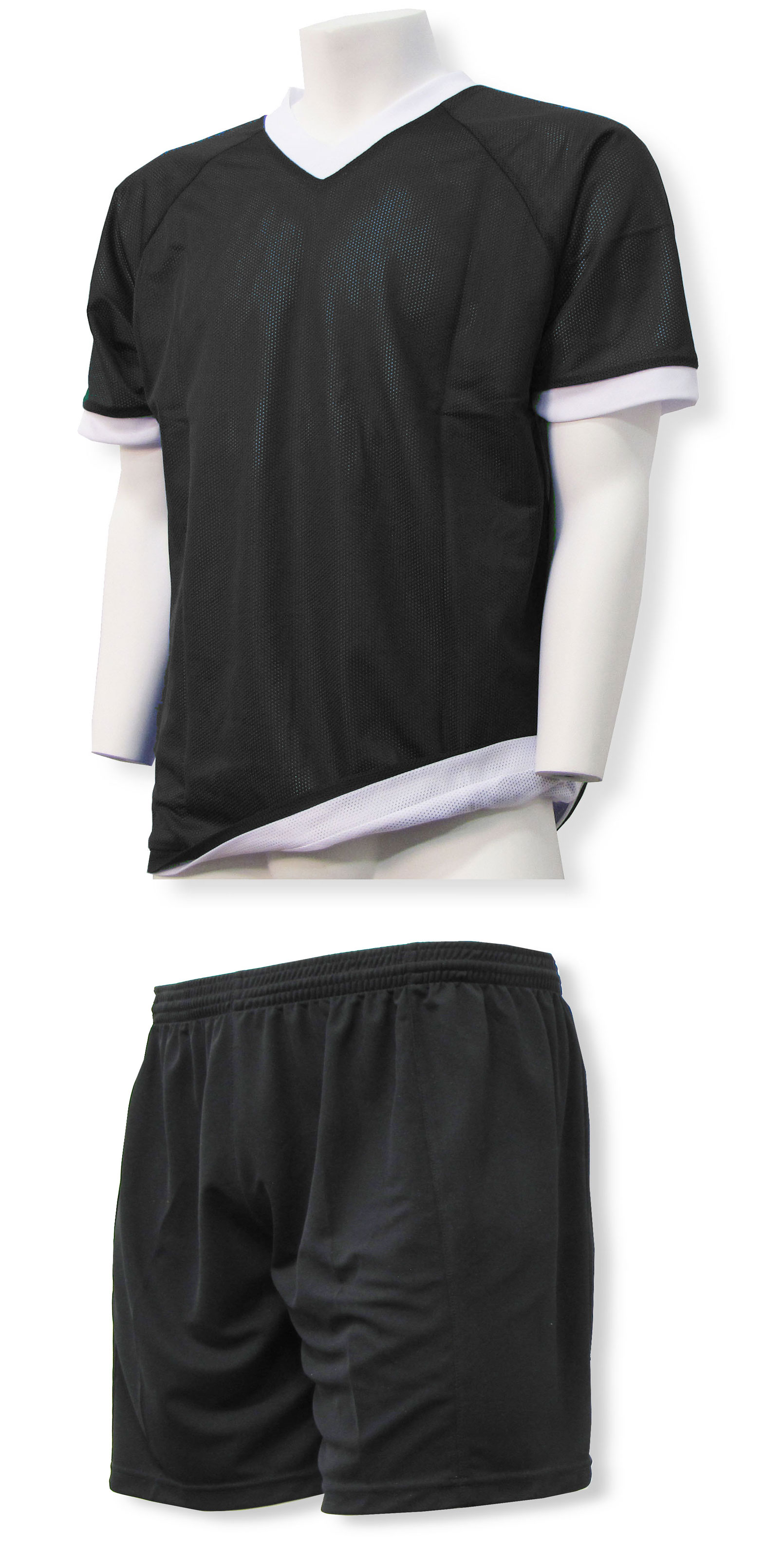 Reversible sports uniform jersey with black shorts by Code Four Athletics