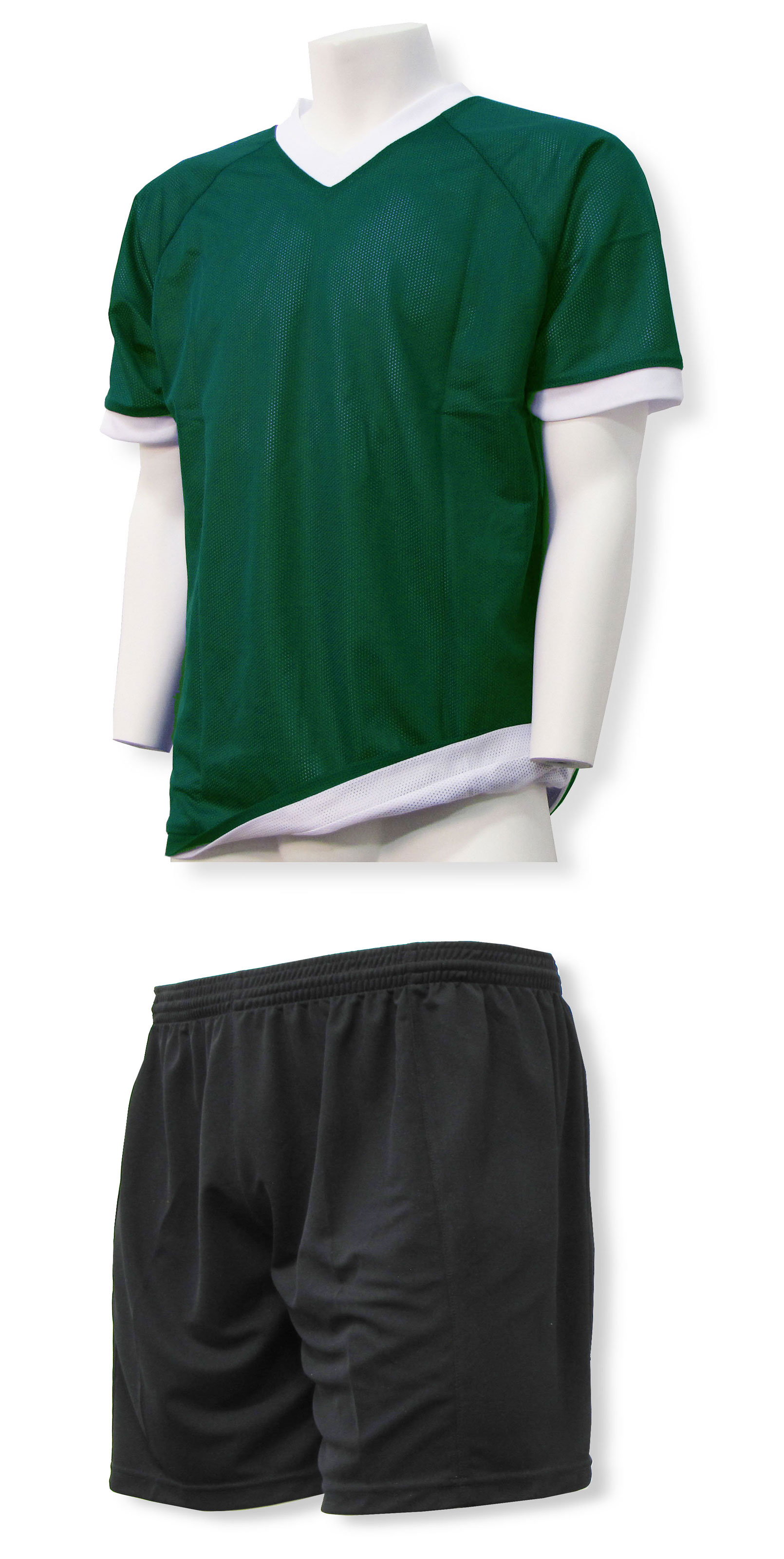 Reversible sports uniform jersey in forest with black shorts by Code Four Athletics