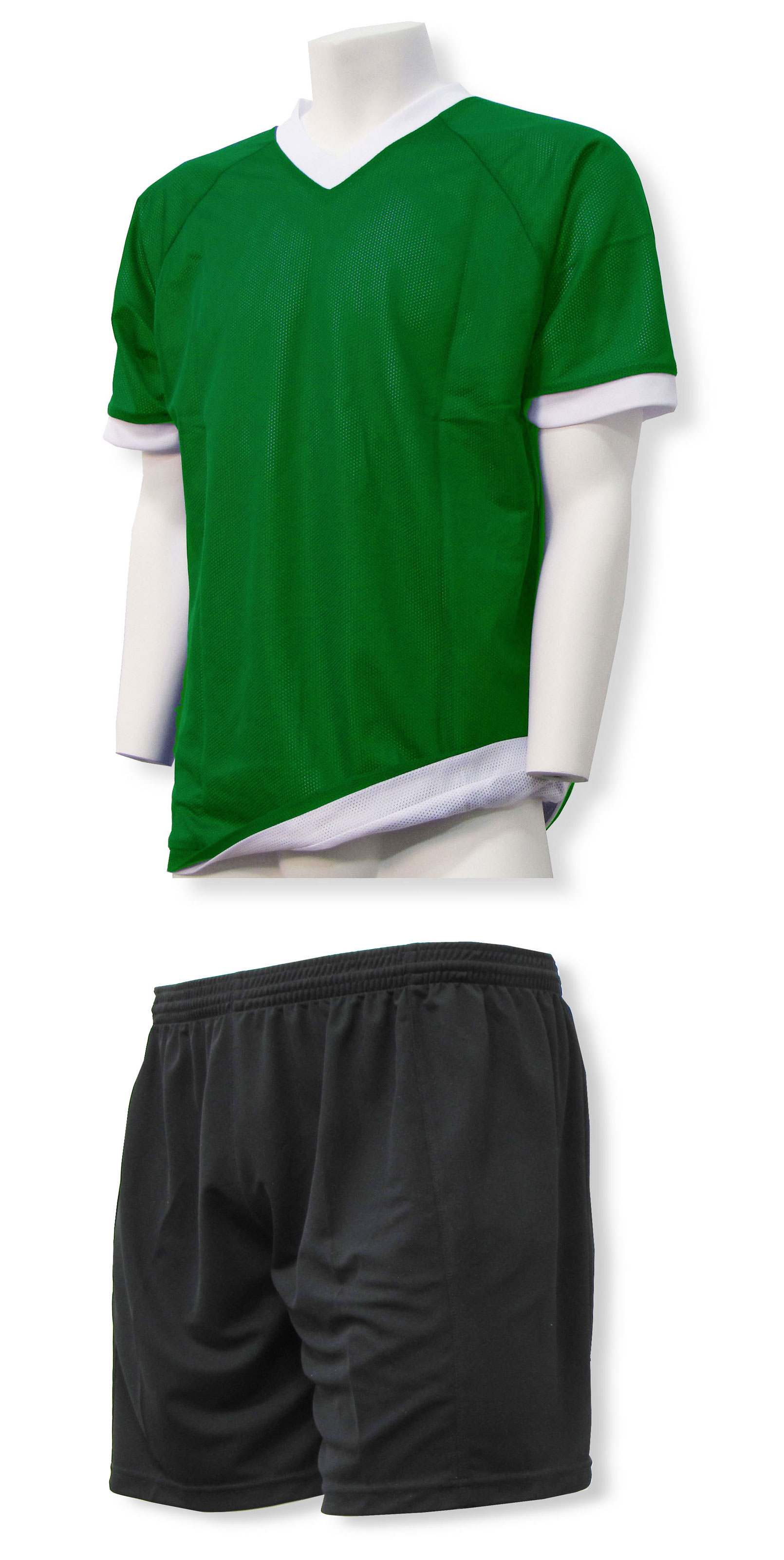 Reversible sports uniform jersey in kelly / white with black shorts by Code Four Athletics