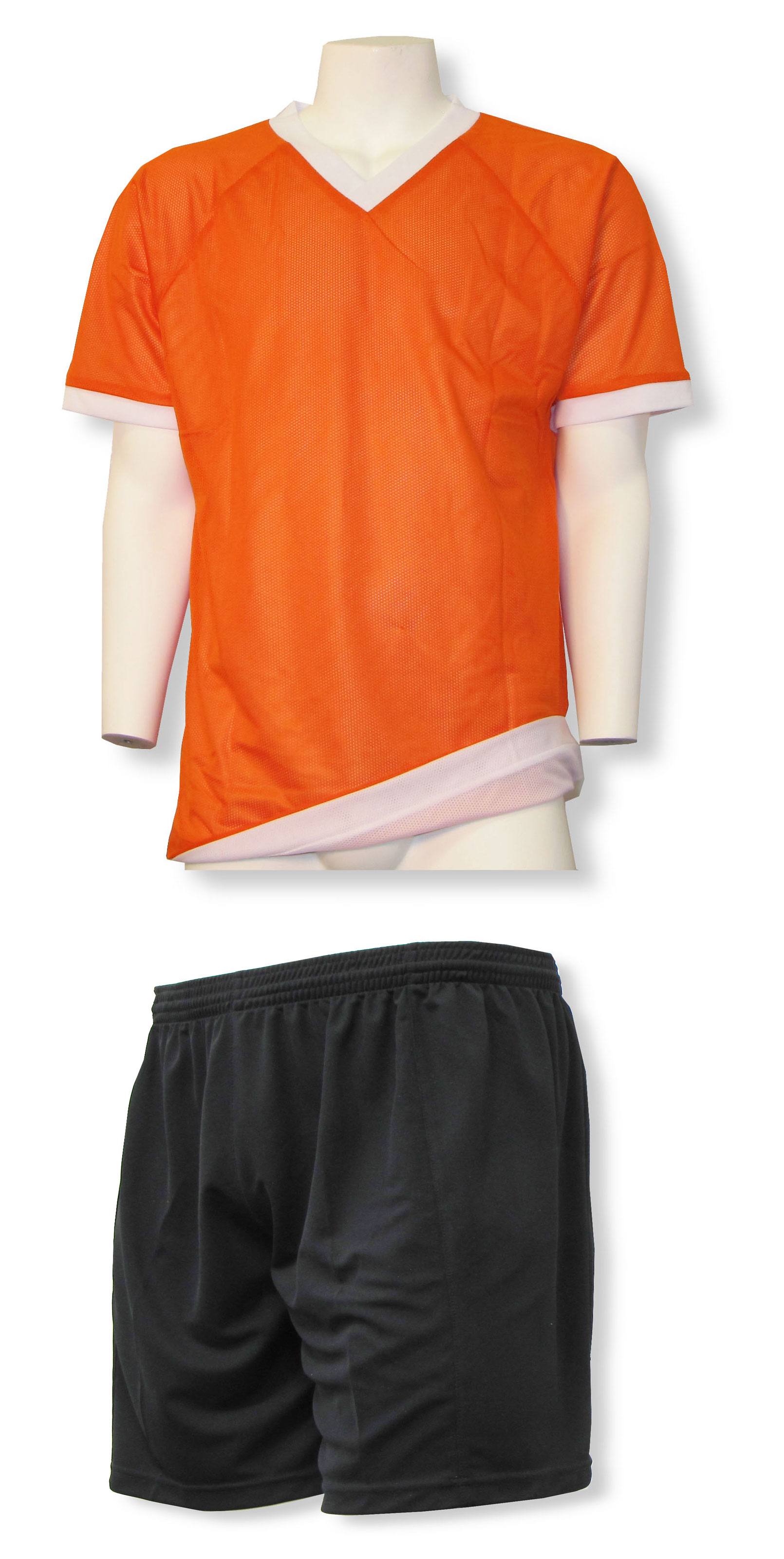Reversible sports uniform jersey in orange/white with black shorts by Code Four Athletics