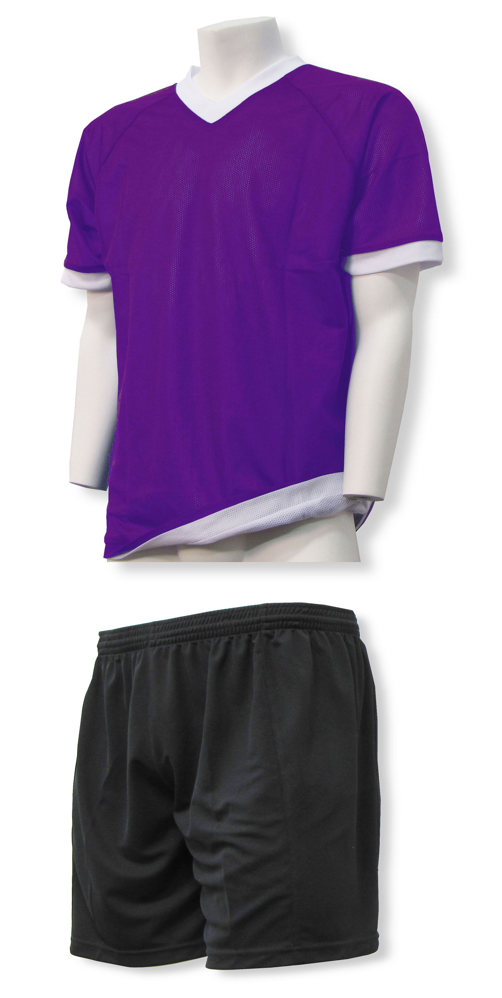 Reversible sports uniform jersey in purple/white with black shorts by Code Four Athletics