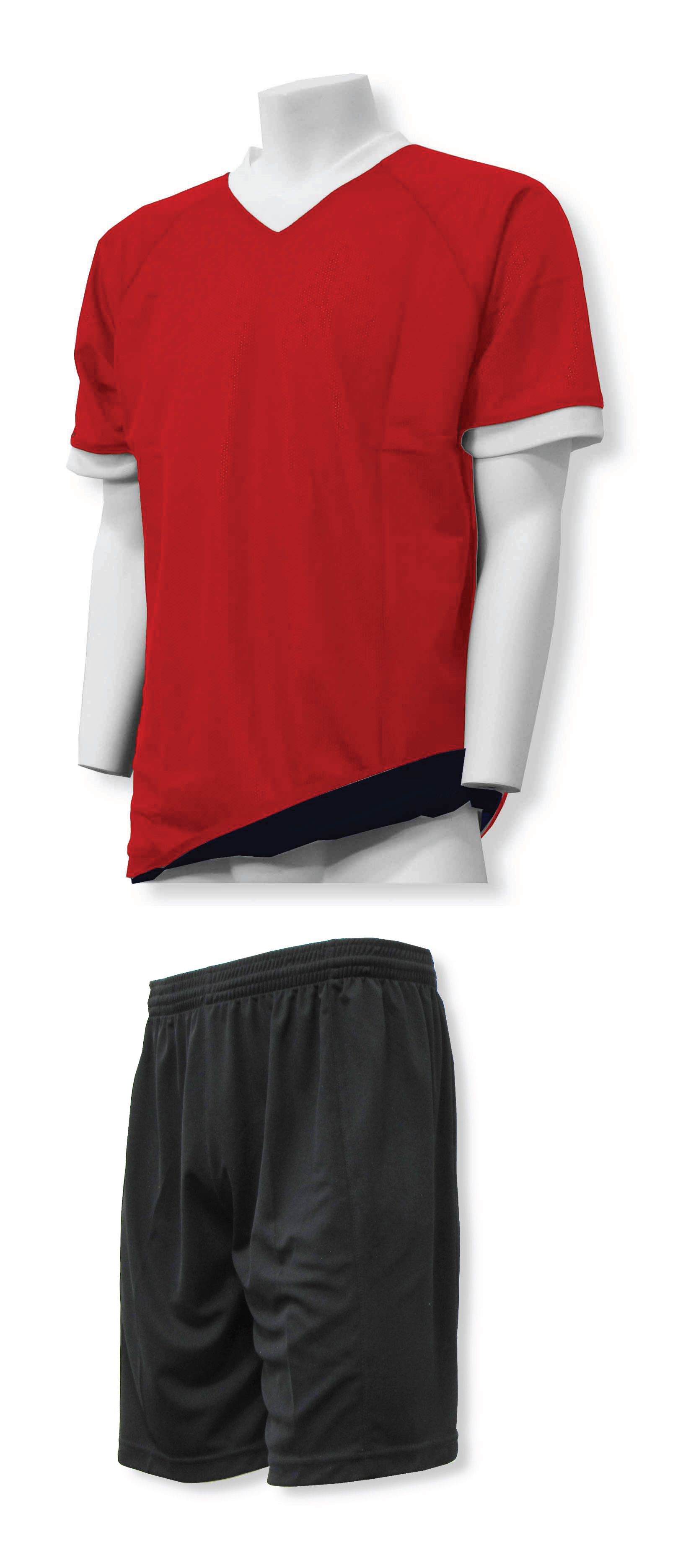 Reversible sports uniform in red/black with black shorts by Code Four Athletics