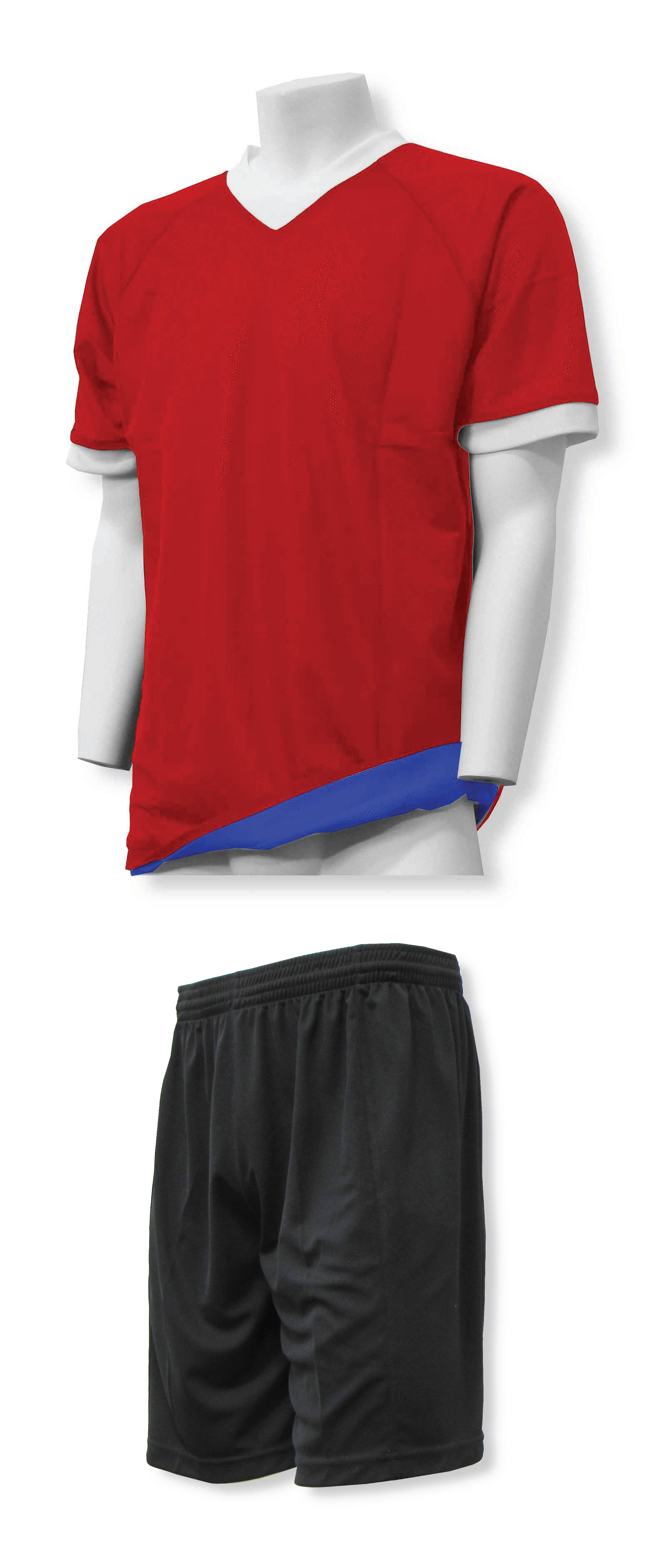 Reversible sports uniform jersey in red/royal with black shorts by Code Four Athletics