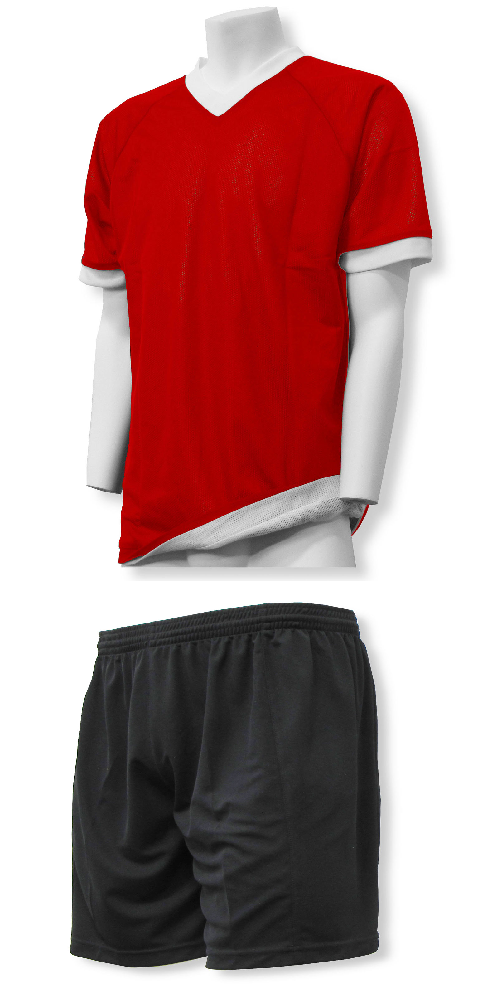 Reversible sports uniform jersey in red/white with black shorts by Code Four Athletics