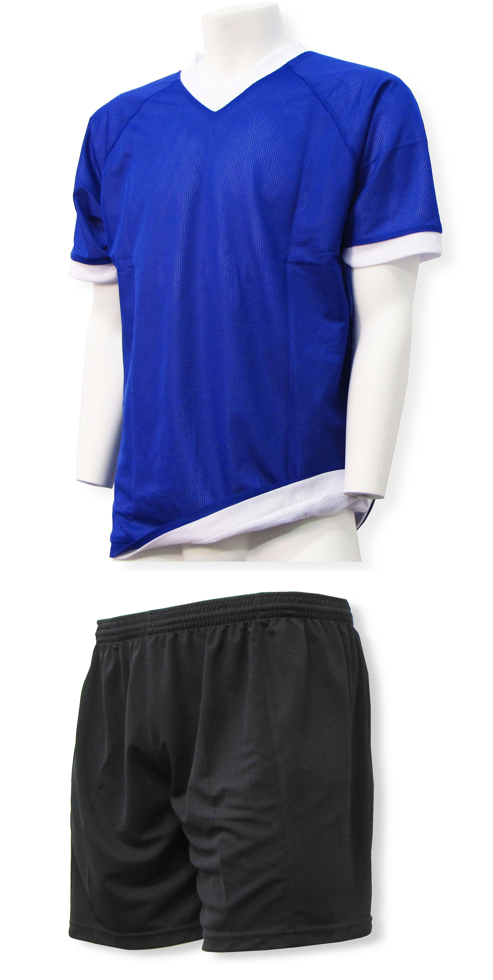 Reversible sports uniform jersey in royal/white with black shorts by Code Four Athletics