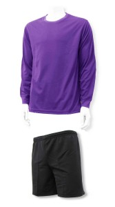 Salvare soccer goalkeeper jersey and shorts set in purple and black, by Code Four Athletics