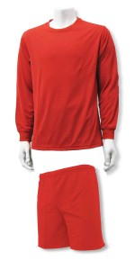 Salvaret soccer goalie jersey shorts set by Code Four Athletics, in red