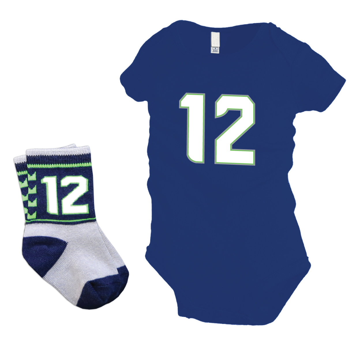 Seattle Seahawks 12th baby gift pack with #12 onesie and socks by Code Four Athletics