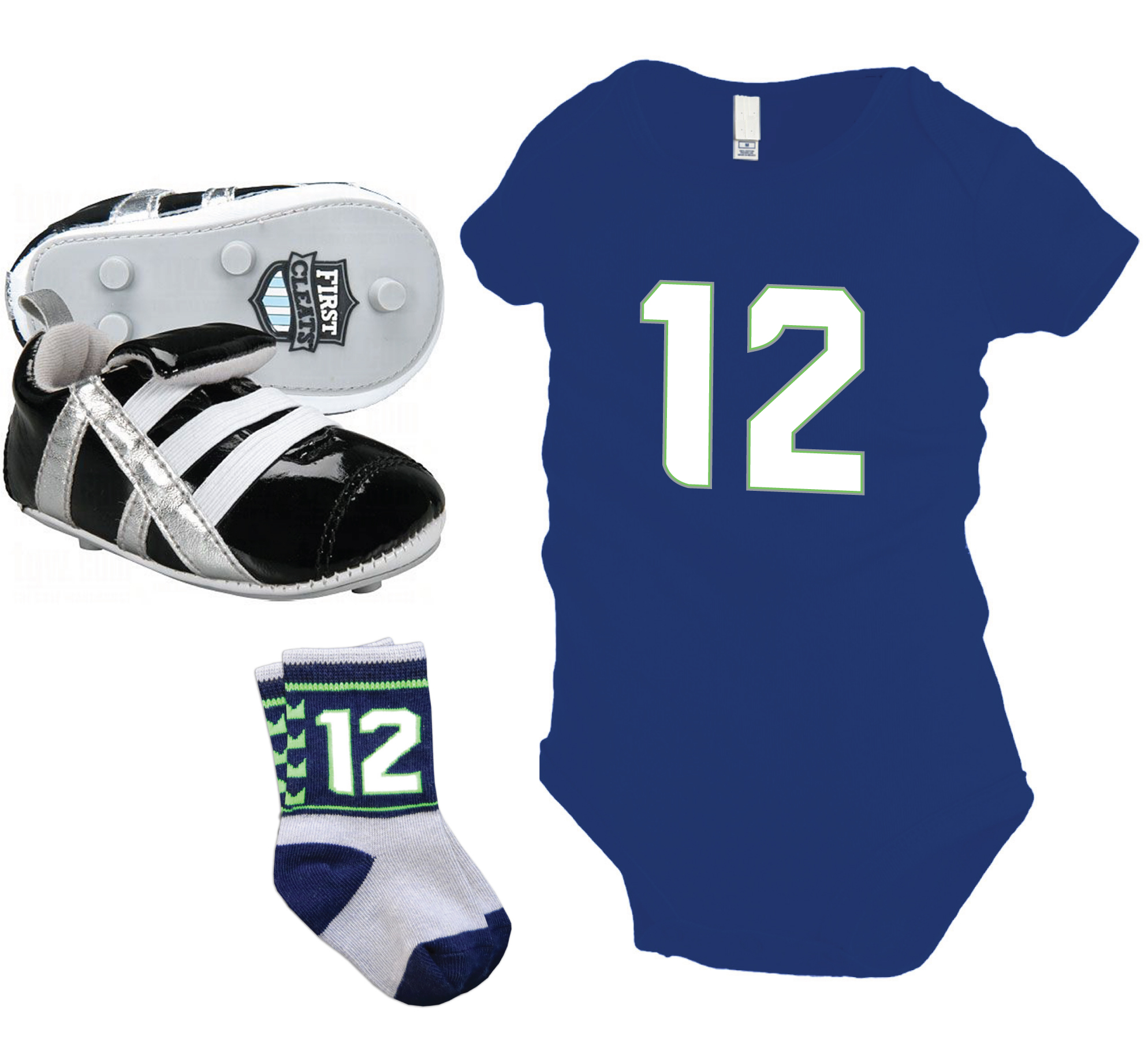 Seattle Seahawks 12th baby gift set including #12 onesie, socks and football cleats by Code Four Atheltics
