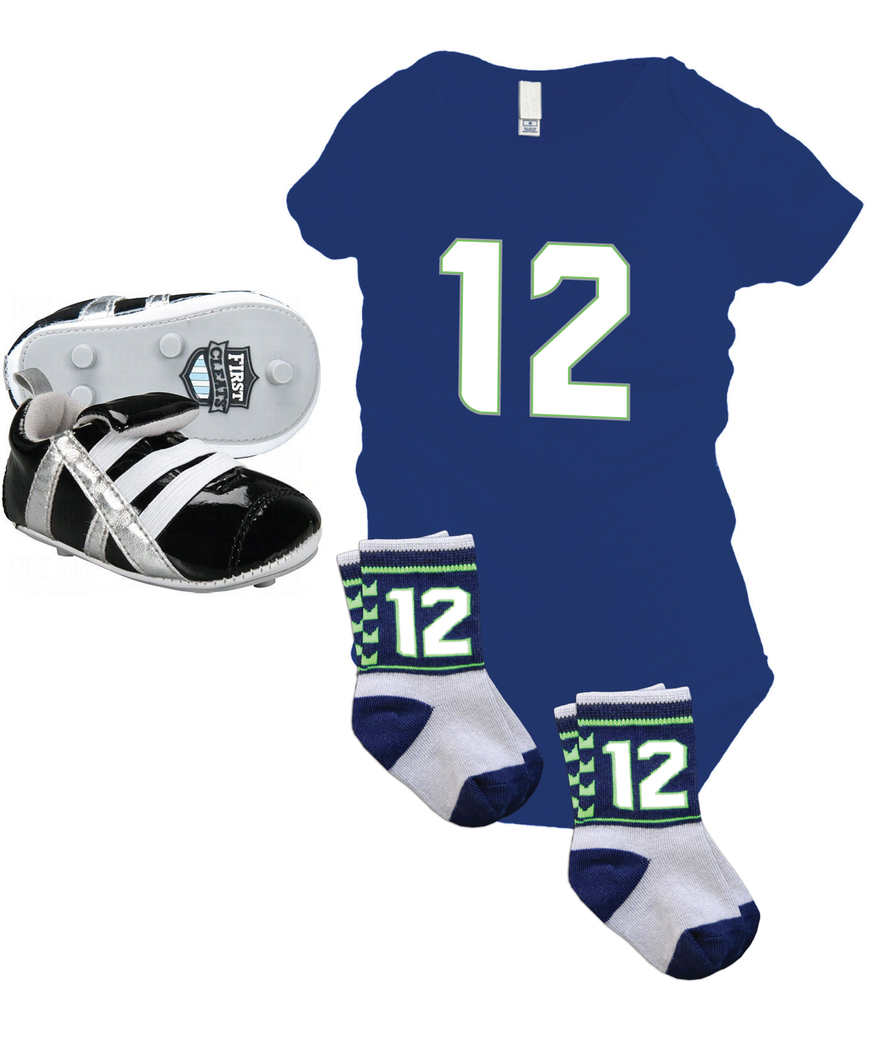 Seattle Seahawks number 12 baby gift pack: #12 onesie, socks and cleats