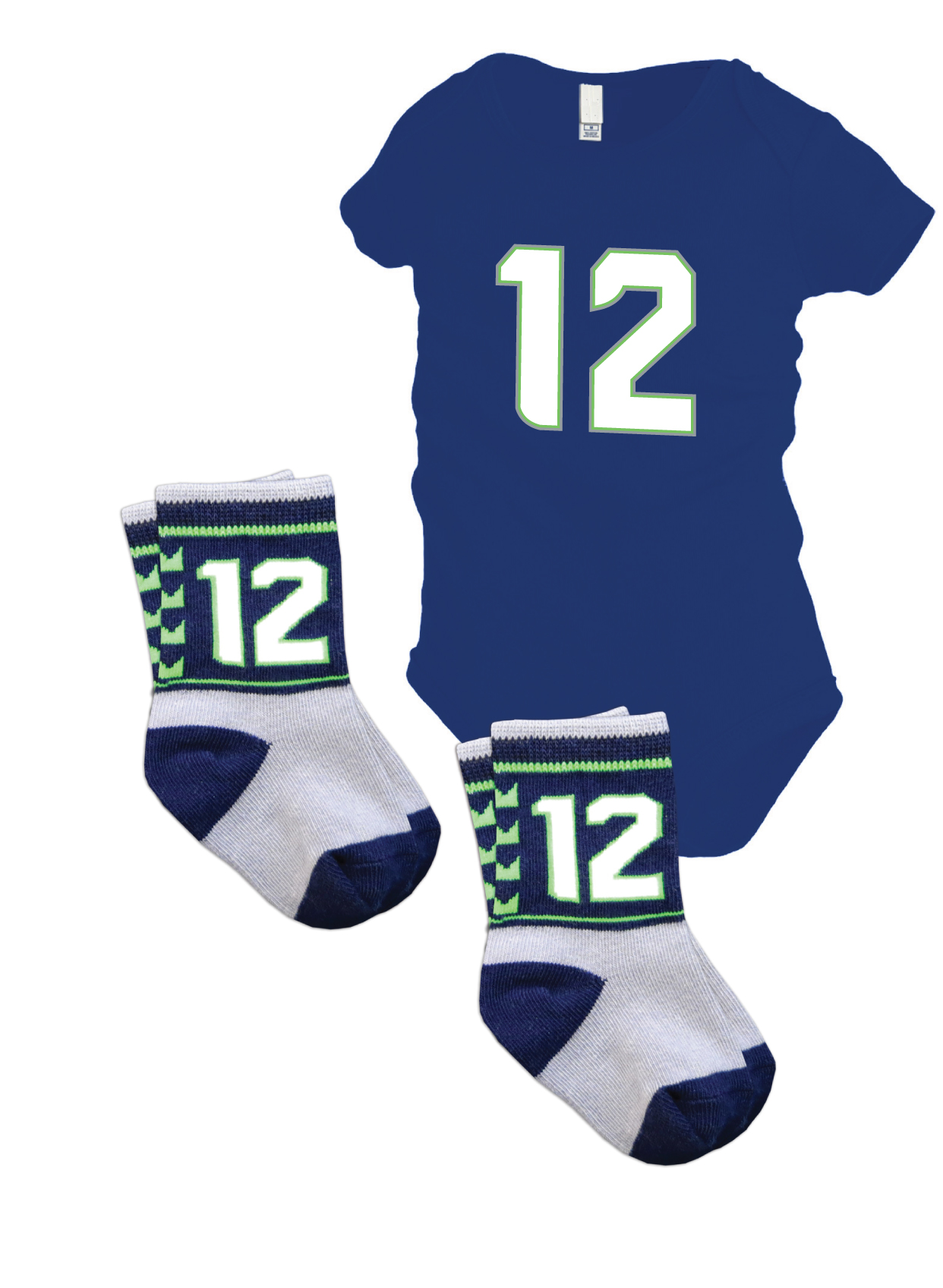 Seattle Seahawks newborn baby #12 gift set with 12th baby onesie and 2 pairs of #12 socks.