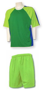Seattle Soccer uniform kit with lime shorts