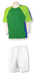 Seattle soccer uniform kit with white shorts