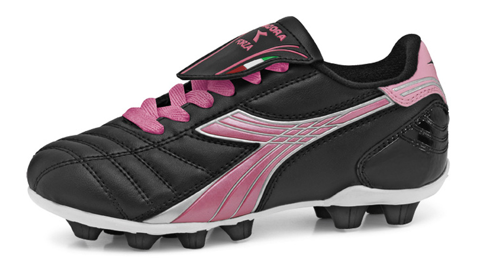 Forza soccer cleats for kids in black/pink by Code Four Athletics