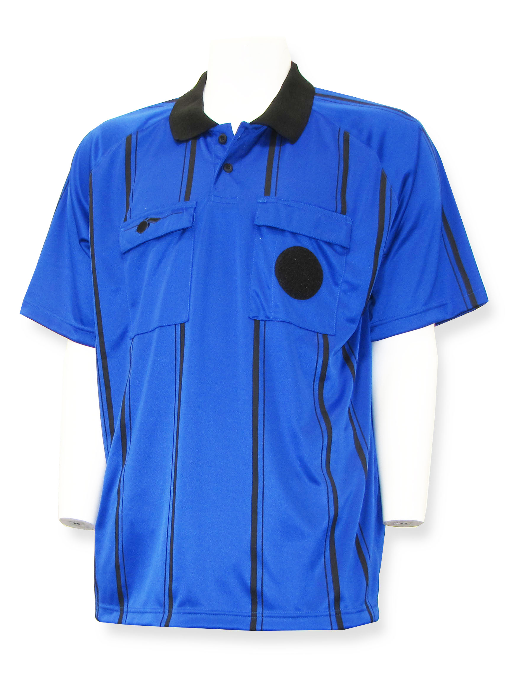 Short sleeve soccer referee jersey by Whistleline in blue