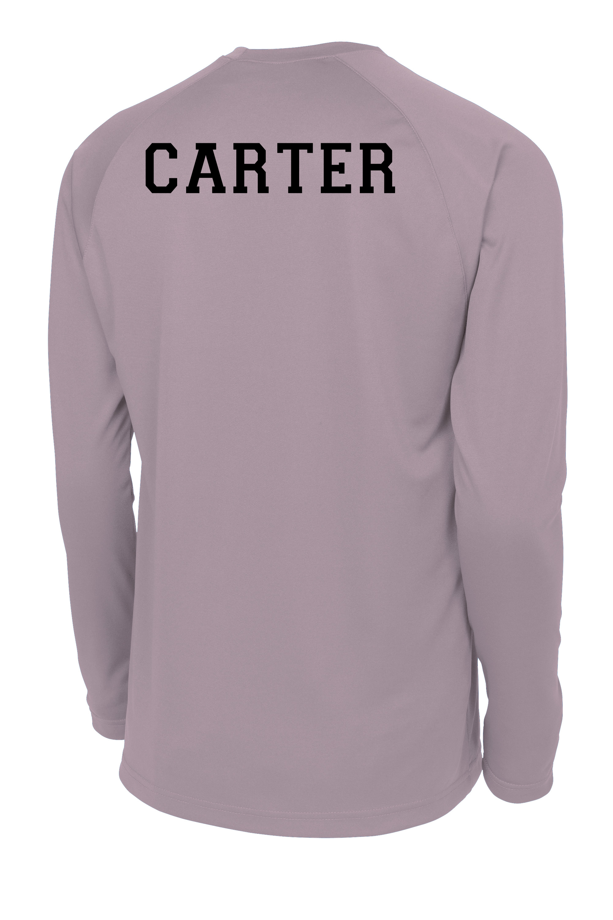 C4 long-sleeve basketball shooting shirt with name on back by Code Four Athletics in athletic grey