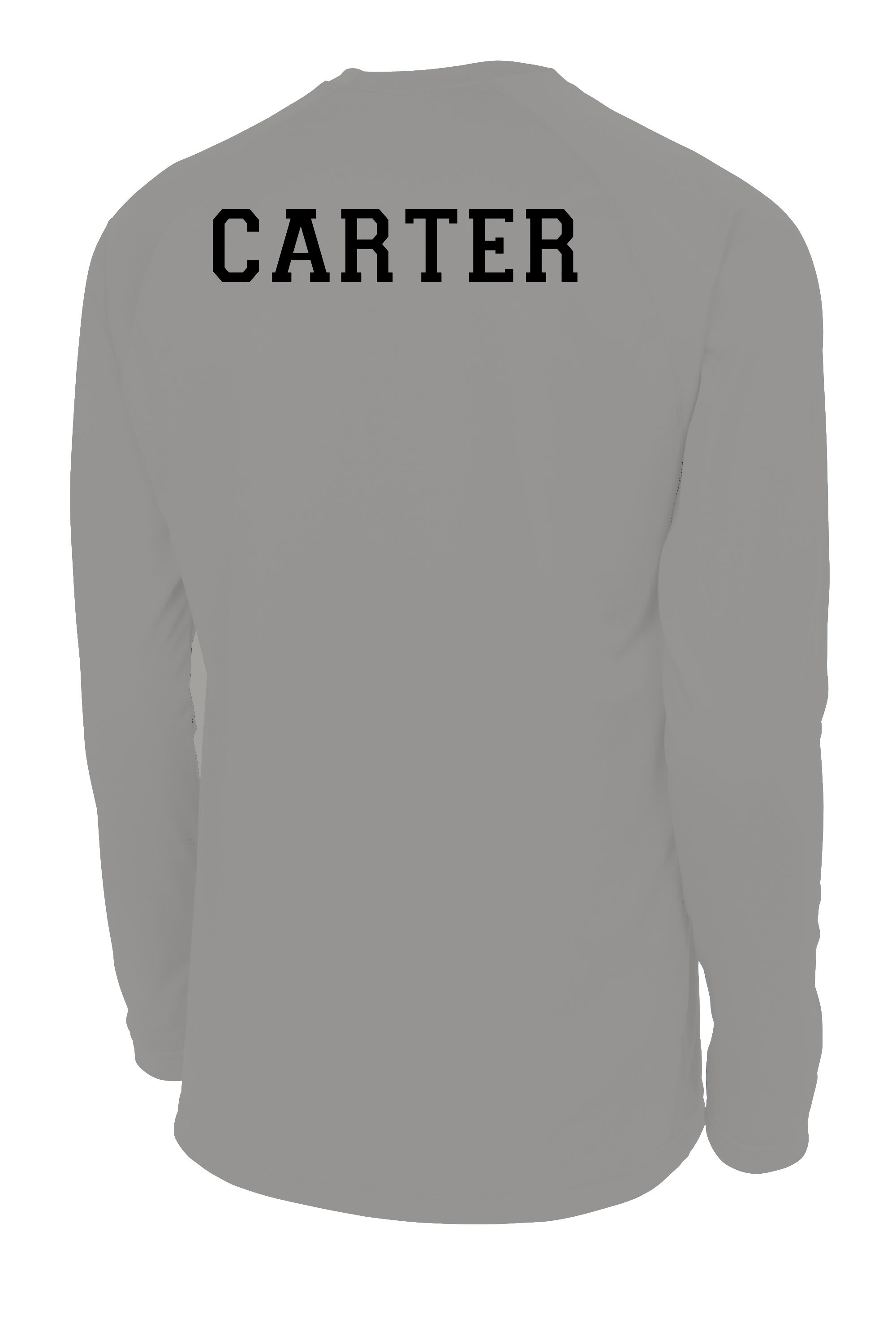 Long sleeve shooting shirt in silver with name on back, by Code Four Athletics