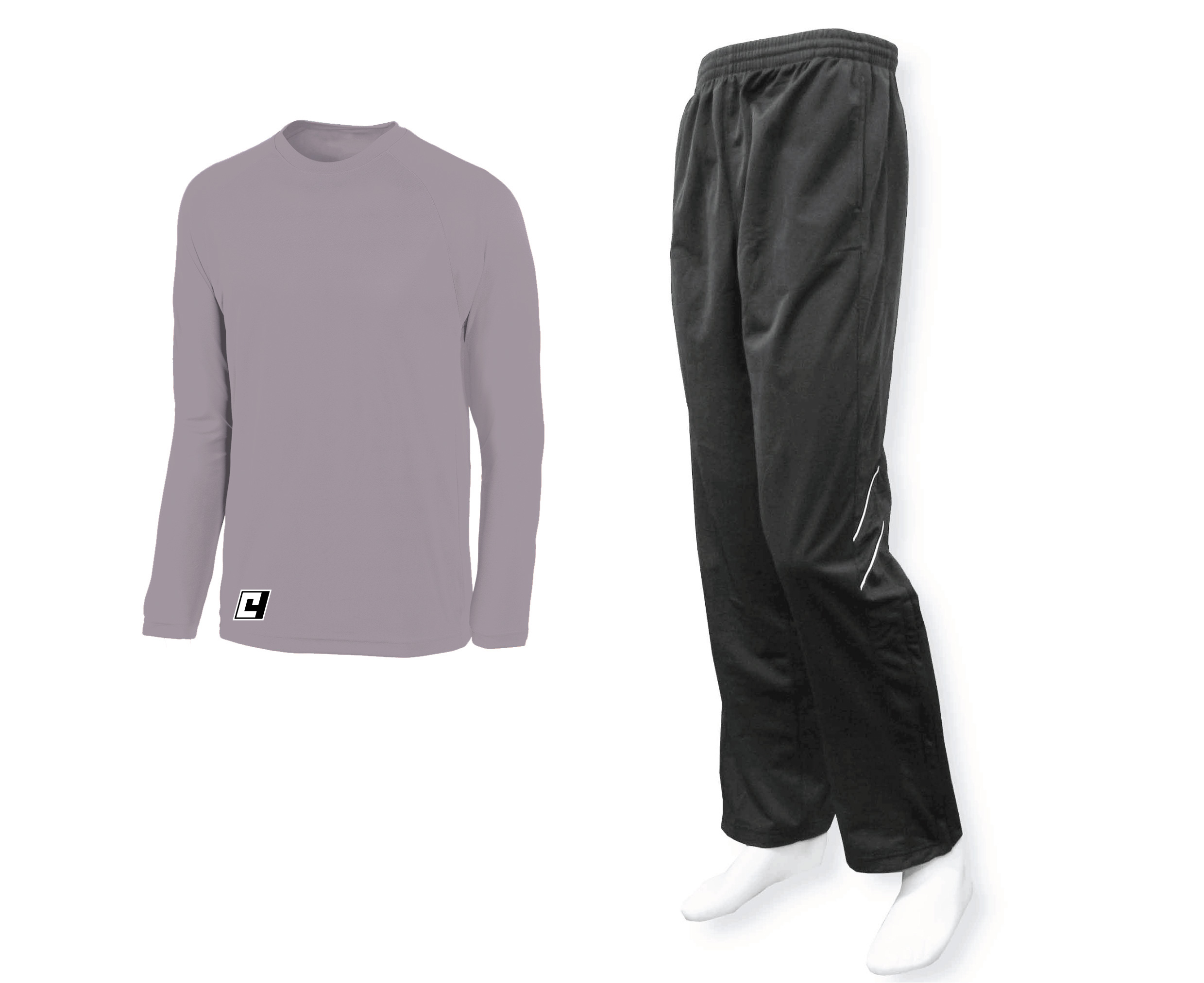 Silver top with black track pants by Code Four Atheltics