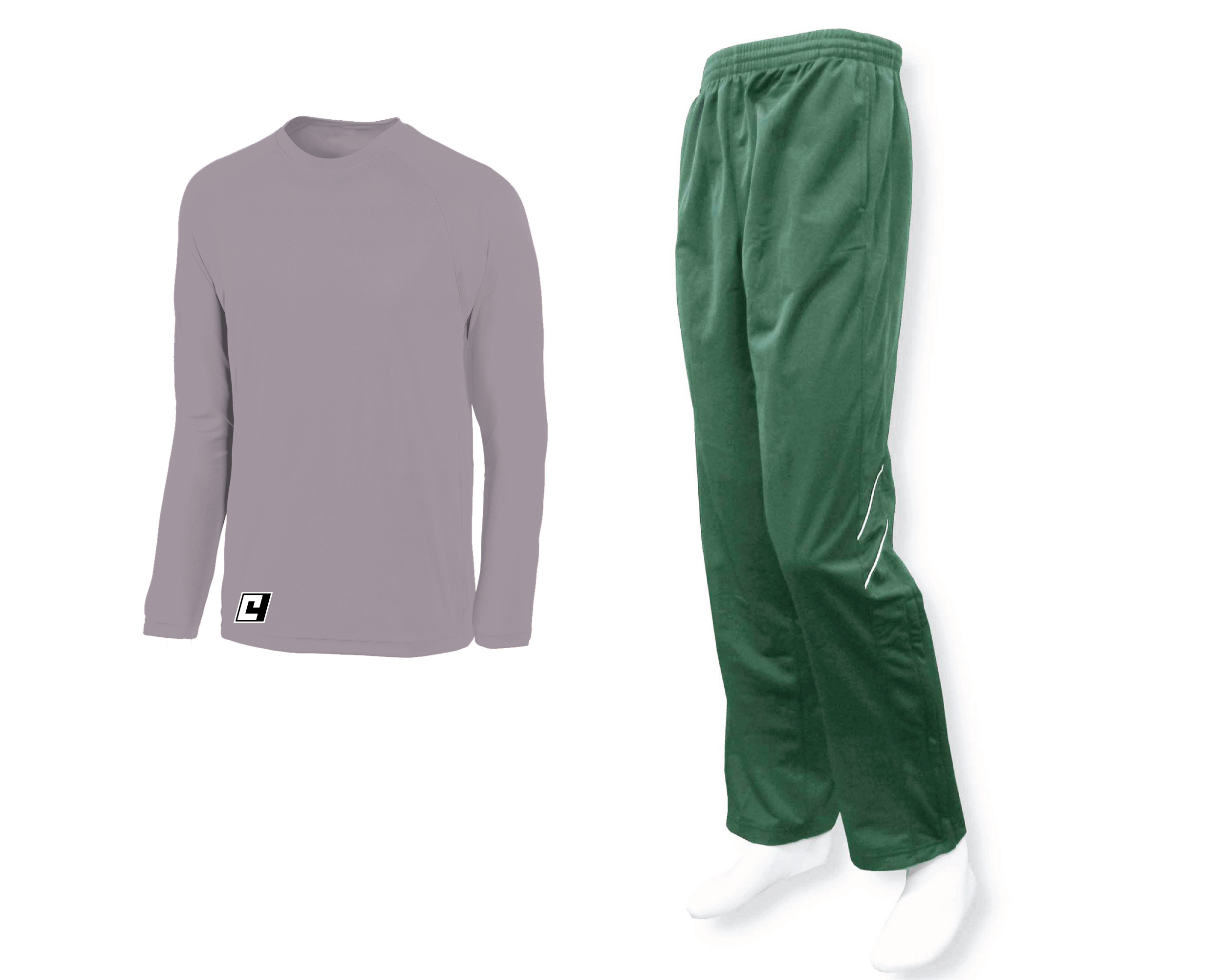 Silver long-sleeve top with forest track pant by Code Four Athletics