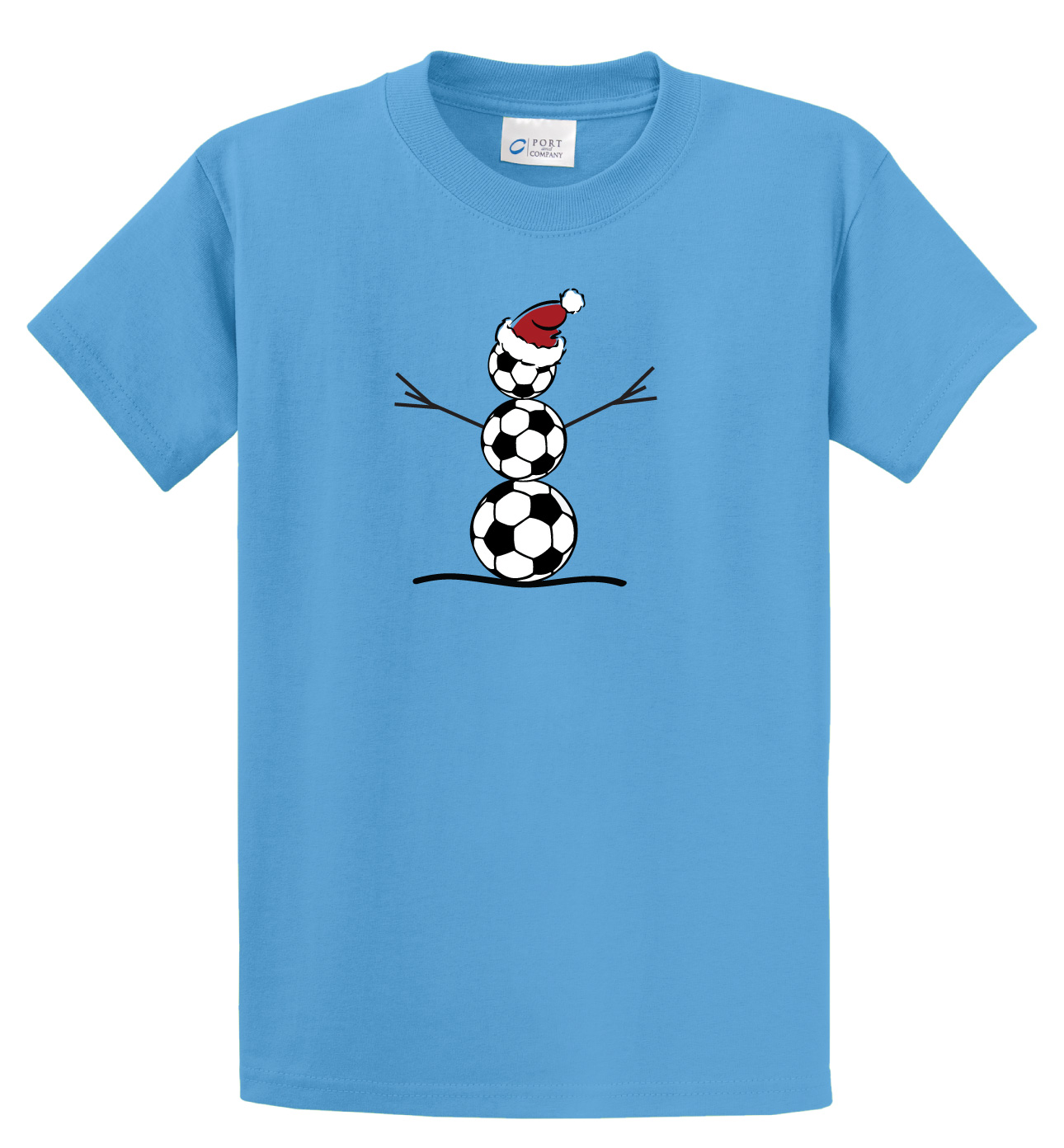 Soccer Snowman t shirt by Code Four Athletics in aqua blue