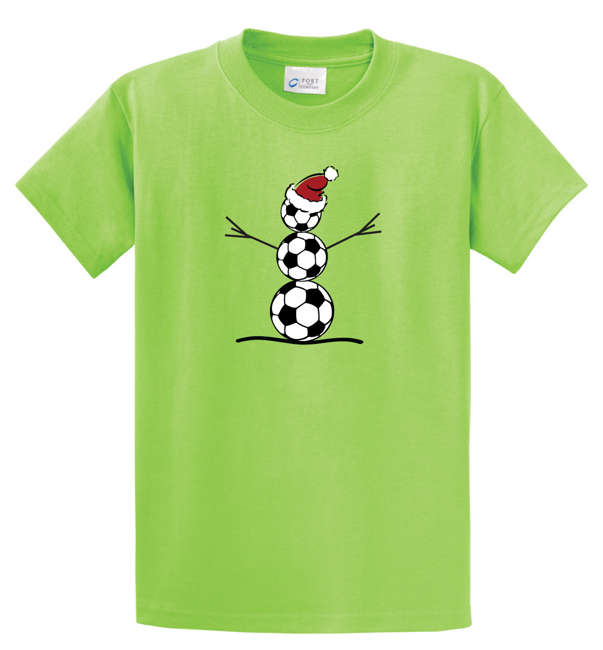 Soccer Snowman t shirt by Code Four Athletics in lime