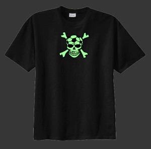 Soccer Skull glow in the dark tee