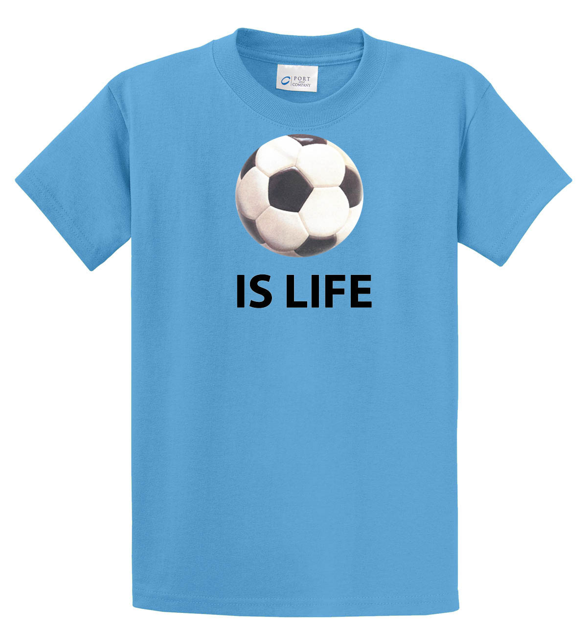 Ball Is Life Tshirt (soccer edition) in aqua blue by Code Four Athletics