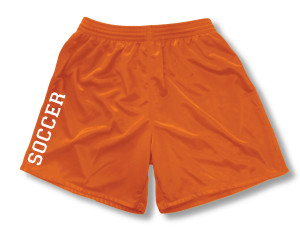 Spiritwear soccer shorts for girls, in orange