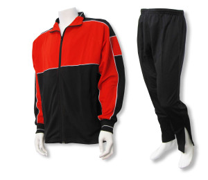 Roma soccer warmup set in red/black by Code Four Athletics