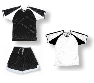 Spitfire soccer uniform kit in black/white by Code Four Athletics