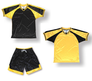 Spitfire/Winchester soccer uniform kit in black/gold by Code Four Athletics