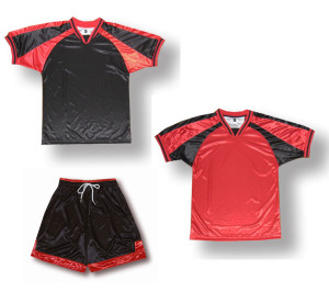 Spitfire soccer uniform kit in black/red by Code Four Athletics