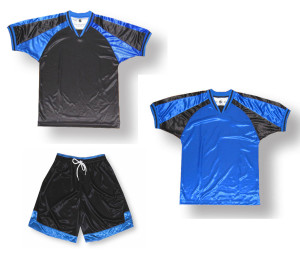 Spitfire soccer uniform kit in black/royal by Code Four Athletics