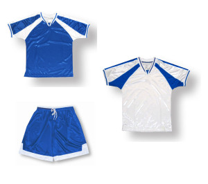 Spitfire soccer uniform kit in royal/white by Code Four Athletics