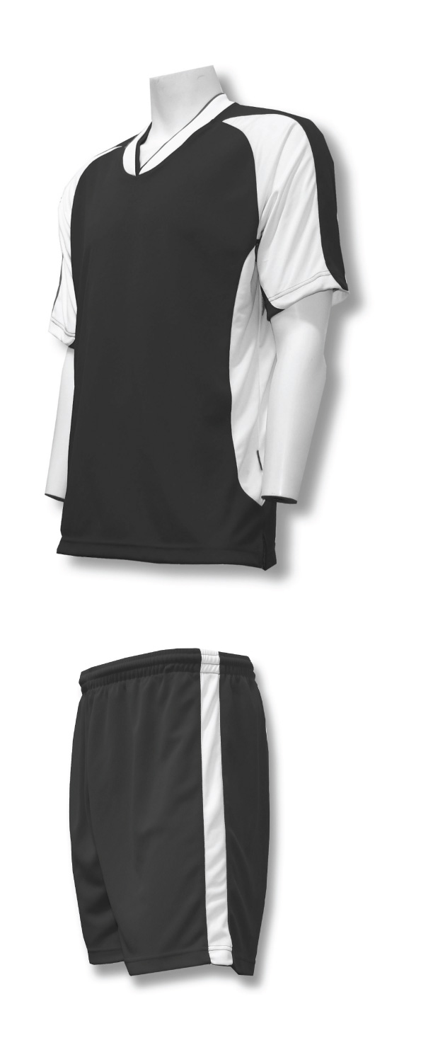 Sweeper soccer uniform kit in black/white by Code Four Athletics