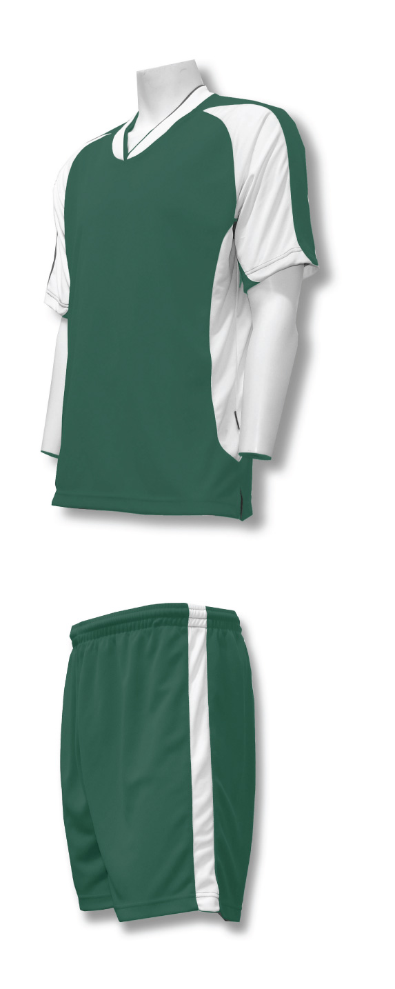 Sweeper soccer uniform kit in forest/white by Code Four Athletics