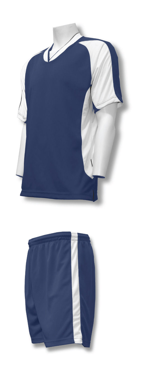 Sweeper soccer uniform kit in navy/white by Code Four Athletics