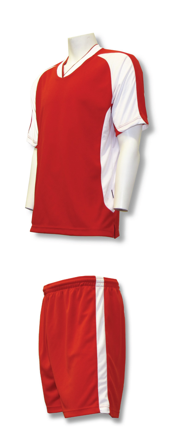 Sweeper soccer uniform kit in red/white by Code Four Athletics