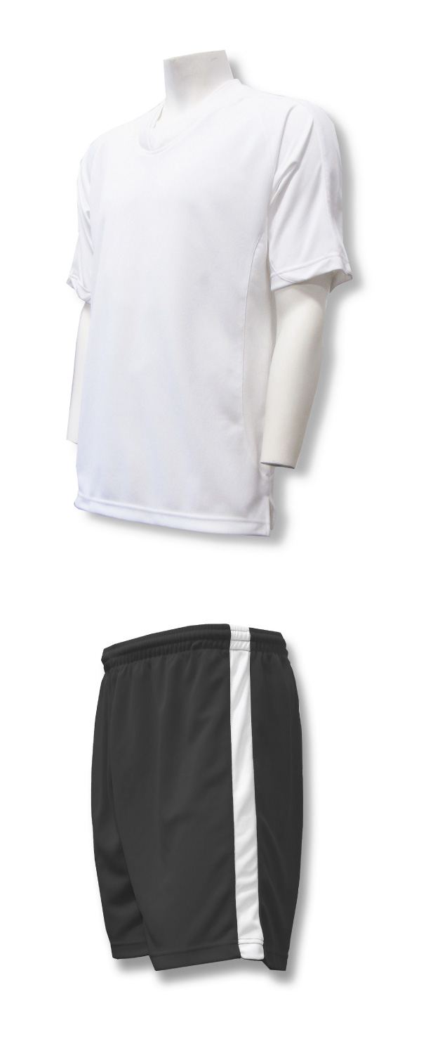 Sweeper soccer uniform set with white jersey and black shorts by Code Four Athletics