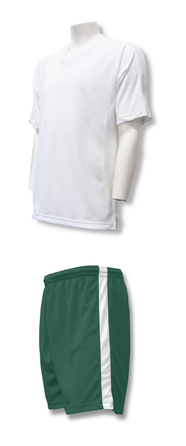 Sweeper soccer uniform set with white jersey and forest shorts