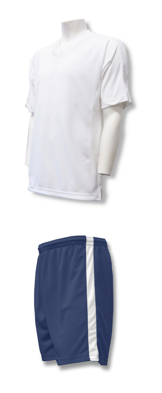 Sweeper soccer uniform set with white jersey and navy shorts by Code Four Athletics