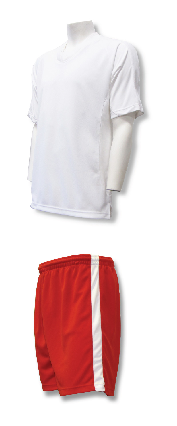 Sweeper soccer uniform set with white jersey and red shorts by Code Four Athletics