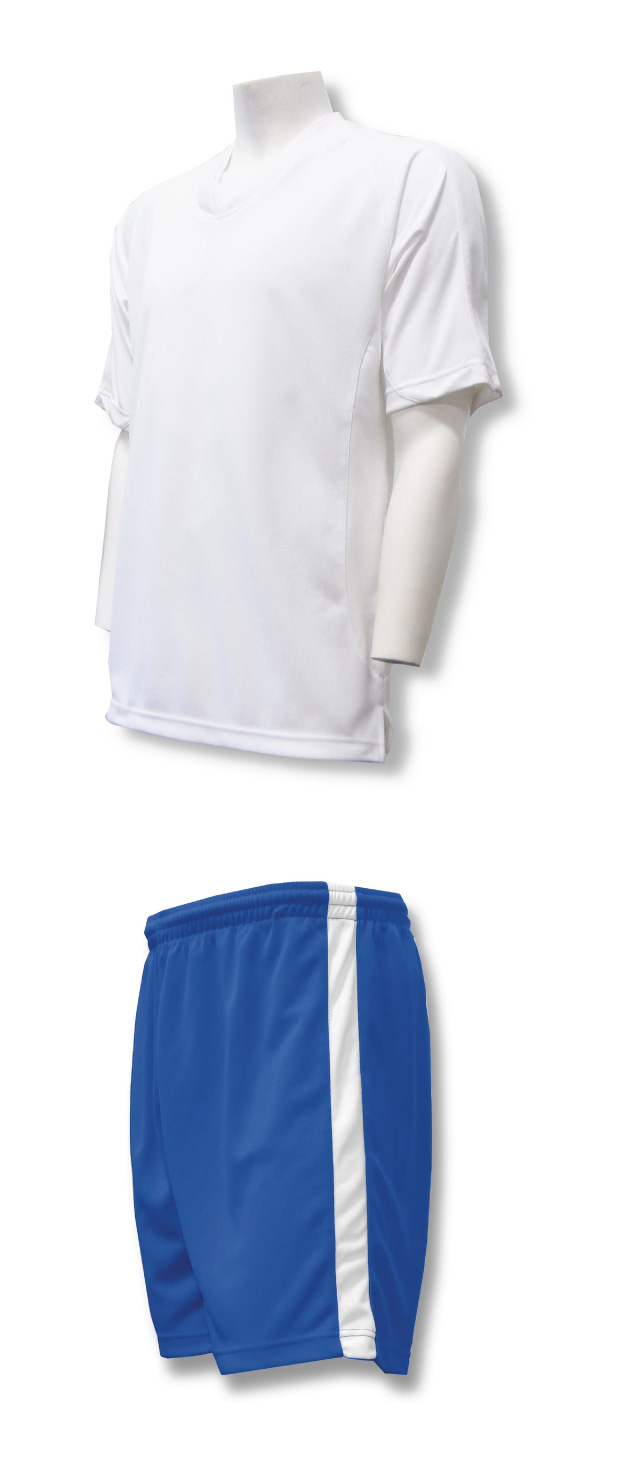 Sweeper soccer uniform set with white jersey and royal shorts by Code Four Athletics