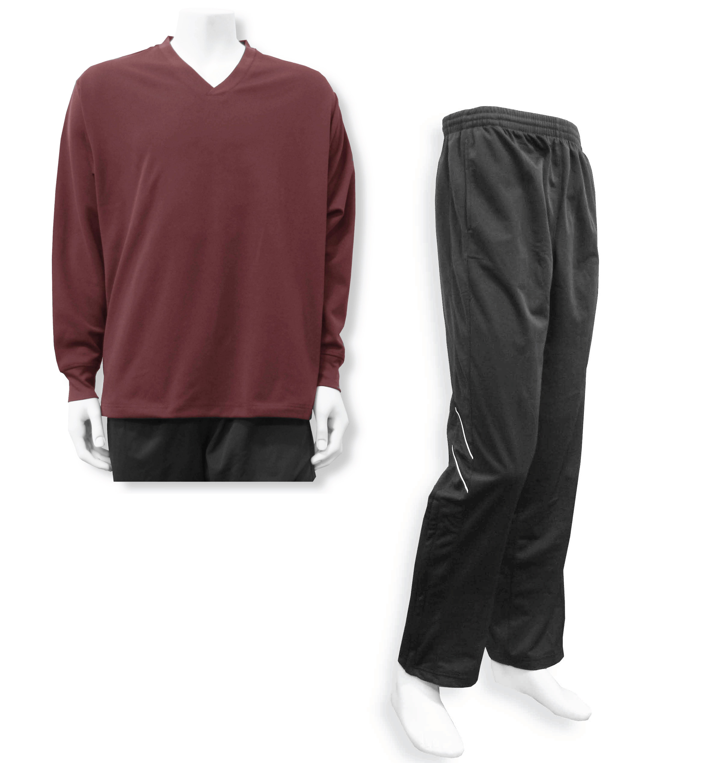 Men's casual track suit by Code Four Athletics in maroon / black