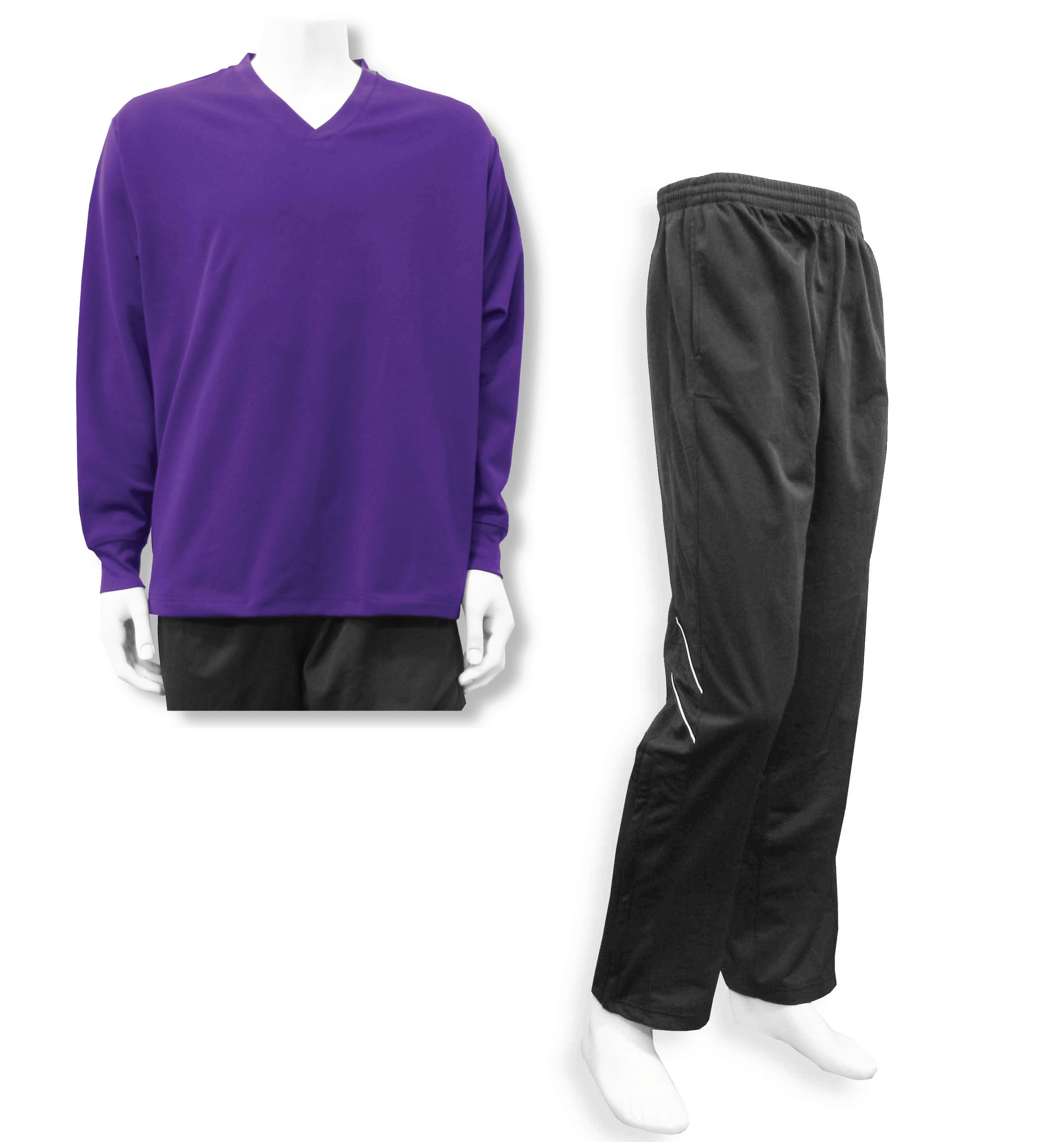 Men's casual track suit by Code Four Athletics in purple / black