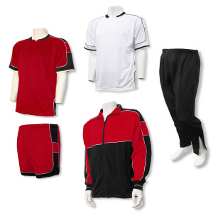 Soccer Team Package with uniform, warmups in red by Code Four Athletics