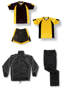 Imperial soccer team package in black / gold by Code Four Athletics