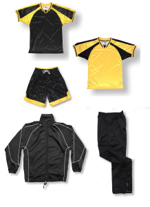 Spitfire soccer team package in black / gold by Code Four Athletics